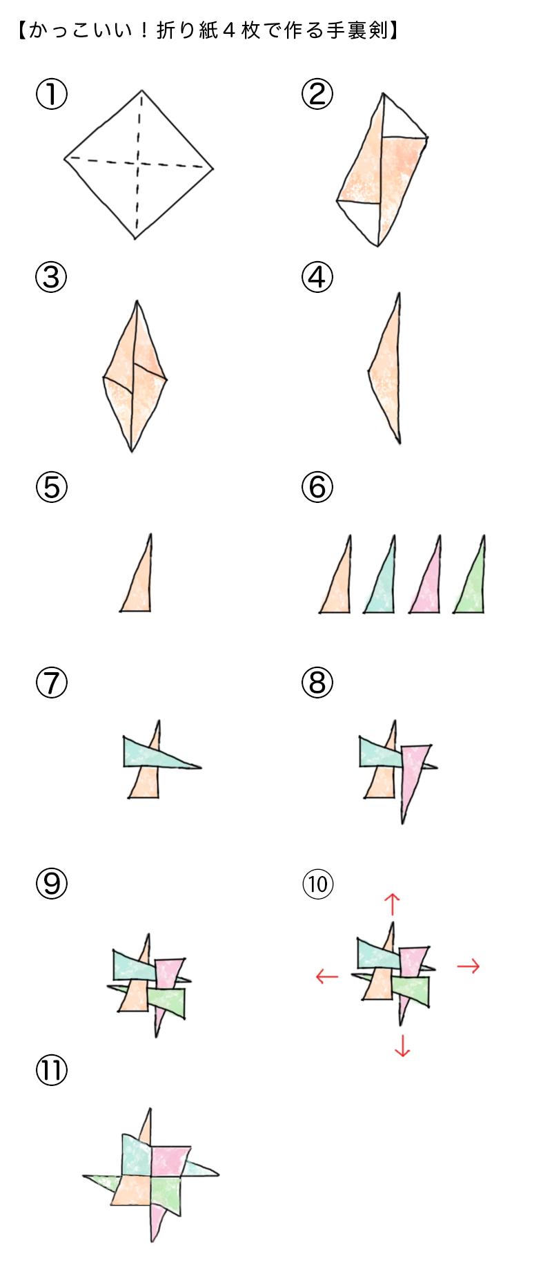 折り紙4枚で作る手裏剣