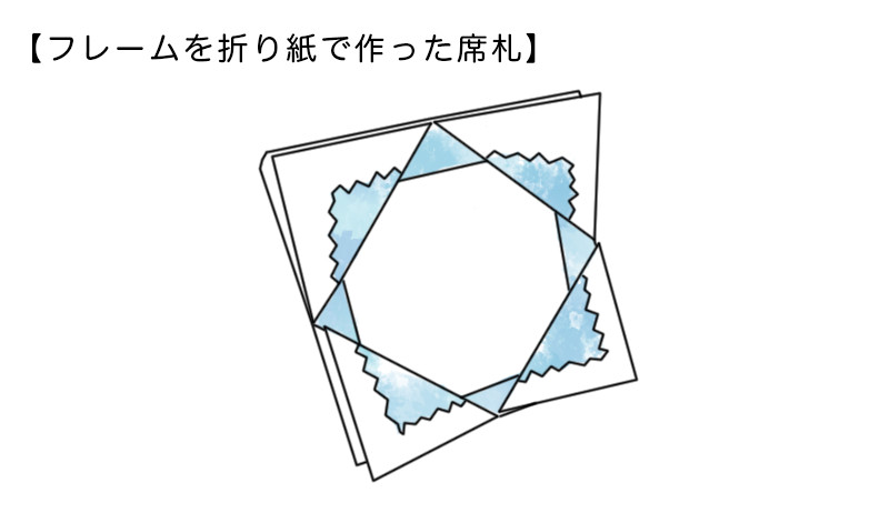 フレームを折り紙で作った席札