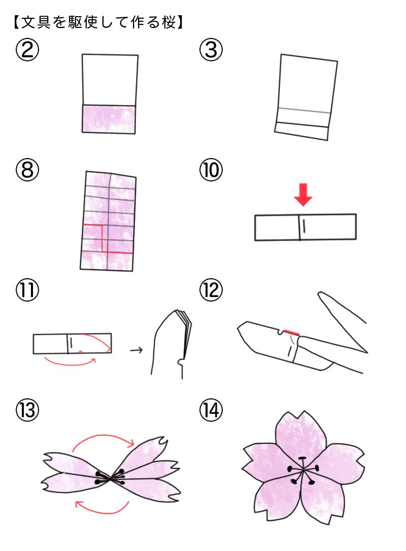 文具を駆使して作る桜