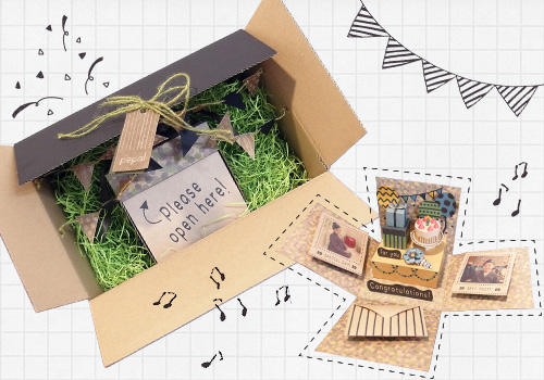 >企業賞 シモジマ賞 サプライズ・メッセージカード「PARTYな祝い箱」